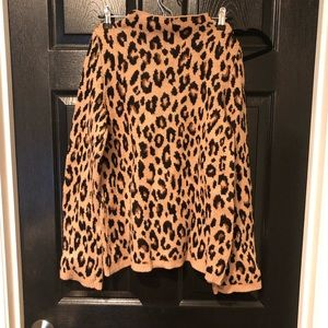 Ann Taylor leopard print mock neck sweater